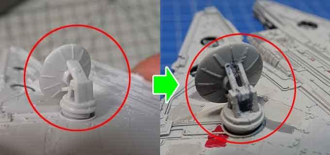 ミレニアムファルコンのアンテナ改修写真