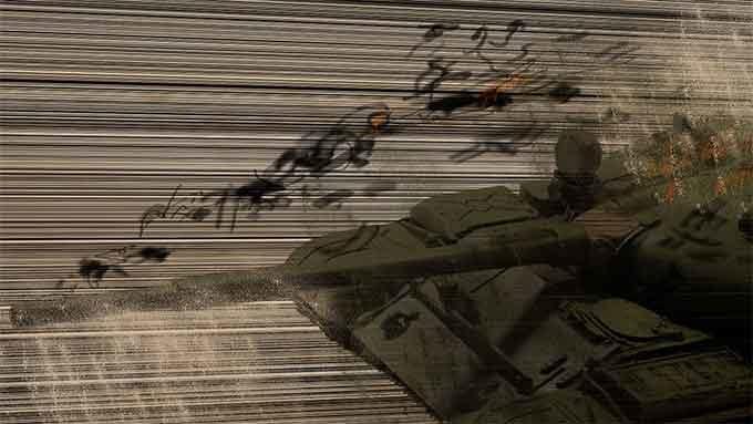 ダメージを受けている戦車