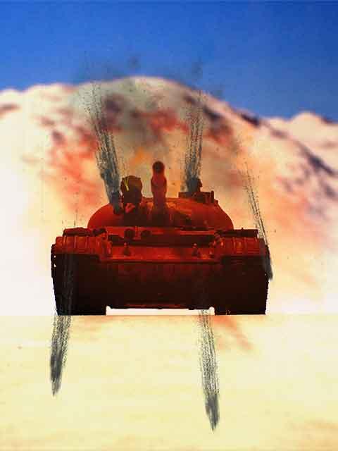 20mm機関砲で攻撃を受ける戦車