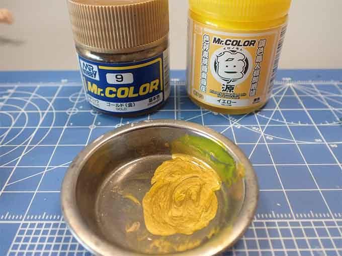 塗料 ゴールドとイエロー