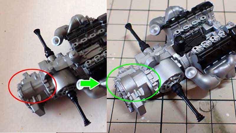 組立中のエンジン